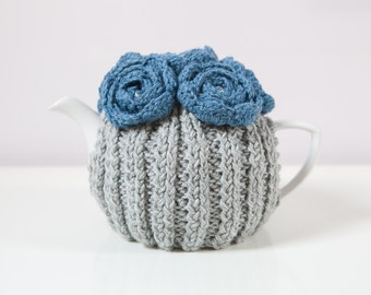 Silver Grey Hand Knit Tea Cozy with Blue Crocheted Flowers.Teapot Cozy. Hand-Knit Tea Cosy. Tea-Lovers Gift.