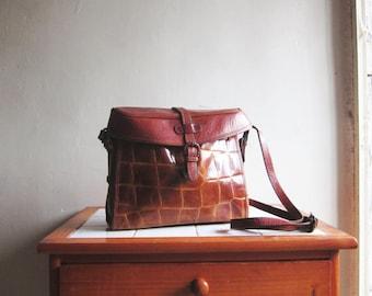 SALE Vintage Italian brown leather pattern purse clutch satchel handbag shoulder cross body bag
