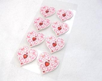 Stickers, hearts, 1 sheet (1574)