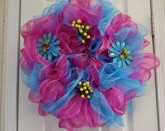 Hand Made Wreath For Spring Or Summer,, Door Hanger,, Home Decor, Mesh Wreath,,