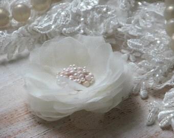 Ivory wedding flower Ivory hair flower Ivory bridal hair flower Ivory organza flower Ivry organza pin 3 inch hair flower Ivory wedding pin
