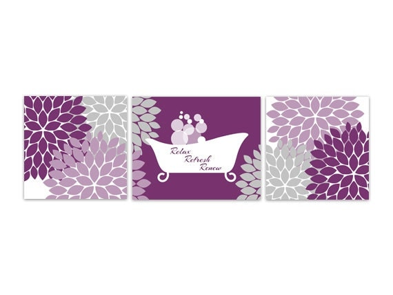 Bathroom wall art purple bathroom decor instant download for Bathroom decor purple
