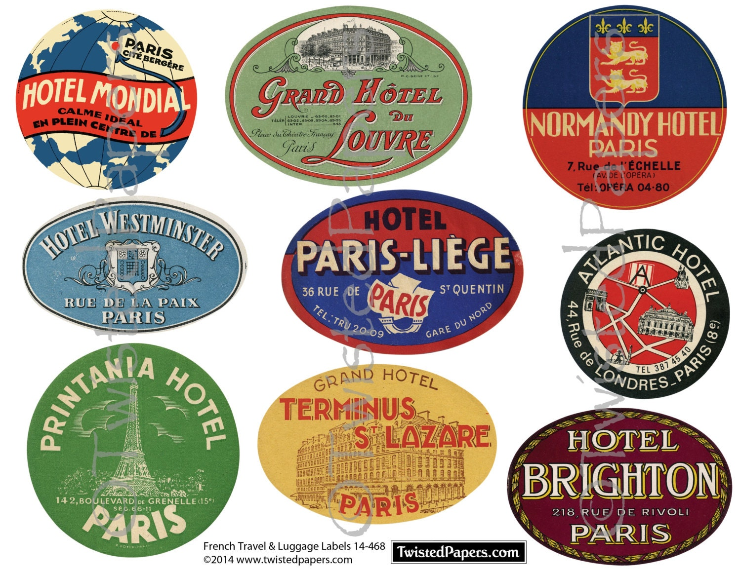 French LUGGAGE LABELS Vintage Travel Luggage Labels. France