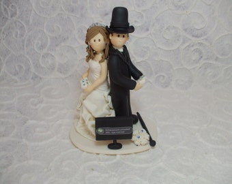 Customized bride and groom playing video games wedding cake topper