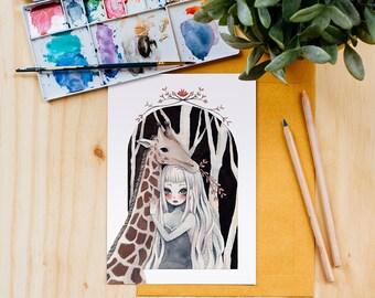 Giraffe Girl Art Print, Watercolor