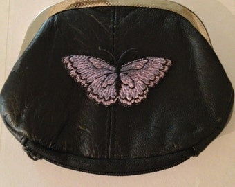 Butter Fly Design Black Leather Change Purse butter fly