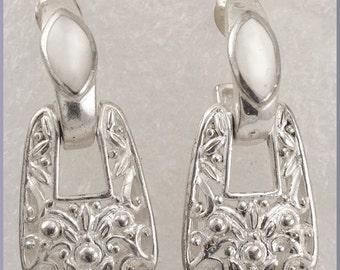 Vintage Sterling Silver Mother of Pearl Pierced Dangle  Earrings