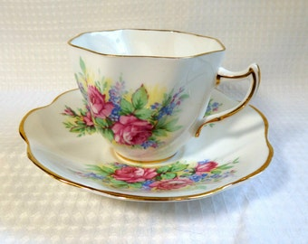 Vintage Clare Bone China Teacup and Saucer.  Made in England.  Floral Pattern.  1960's.