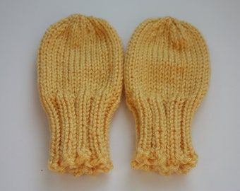 Yellow Baby Mittens for 18-24 Months, Sunshine Yellow Thumbless Mittens, Scratch Mittens, Yellow Knit Baby Mittens, Knit Toddler Mittens