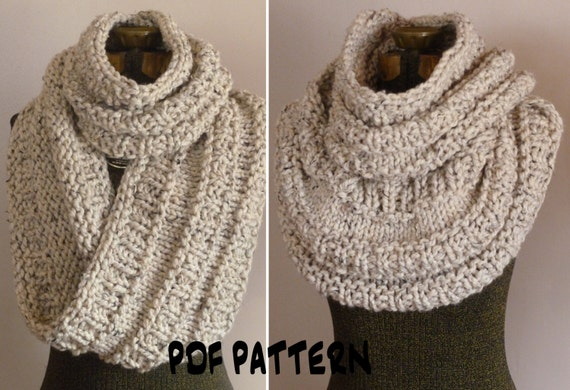 Knitting Pattern Chunky Infinity Scarf Cowl THE NEIL NECKWARMER, Knit ...