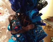 Custom order for Shannon - Handmade knit ruffle scarf - black, blue and brown