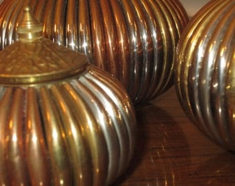 Vintage Brass Vases, set of three