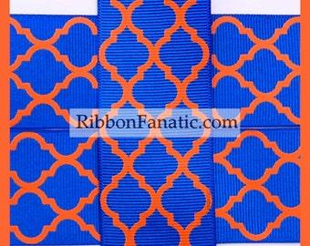 "5 yds 1.5"" Electric Blue and Orange Florida Gators Quatrefoil Moroccan Tile Lattice Grosgrain Ribbon"