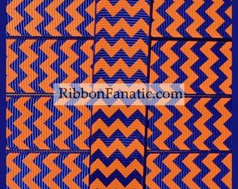 "5 yds 7/8"" Orange on Royal Blue Chevron Striped Grosgrain Ribbon"