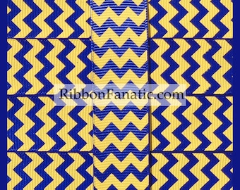 "5 yds 7/8"" Royal Blue with Yellow Gold Chevron Striped Grosgrain Ribbon"