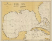 Gulf of Mexico 1931 Nautical Map, Florida, Texas, Mexico, Cuba, Jamaica, Yucatan  - Reprint - Atlantic 1000-1007