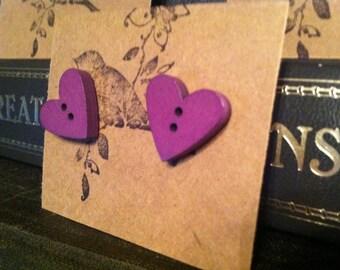 purple wooden heart button earrings