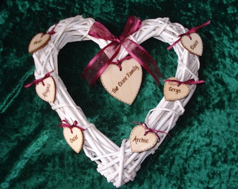 Personalised Wicker Heart with Heart ot Star tags