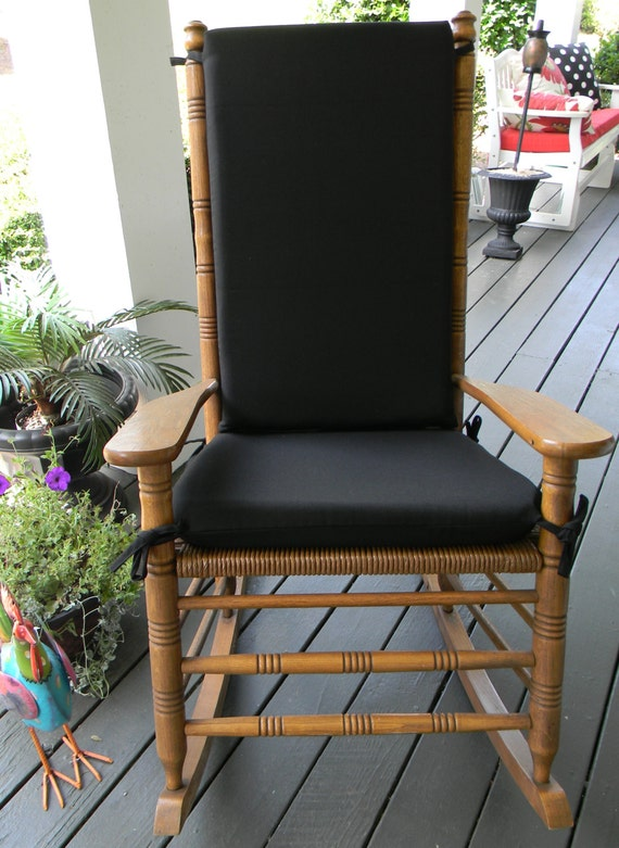 indoor outdoor solid black rocking chair 2 pc foam cushion set