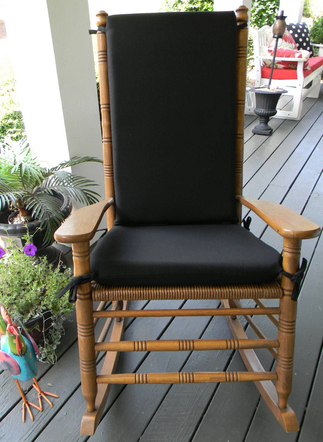Indoor Outdoor Solid Black Rocking Chair 2 Pc Foam Cushion
