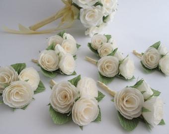Wedding Boutonniere/Paper Flower Boutonniere/Rustic Boutonniere/Groom's Boutonniere/ Ivory Boutonniere