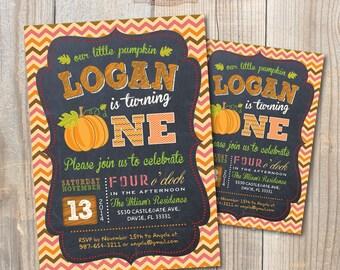 Little Pumpkin Baby Birthday Invitation. DIY card. Digital Printable card