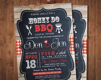Honey Do Shower Invitation. Couples BBQ. Digital Printable Card
