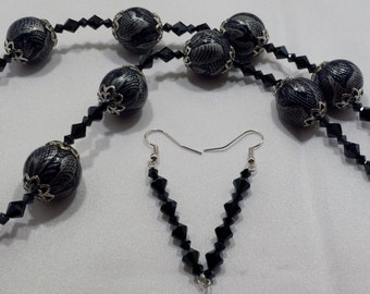 Navy and silver necklace & earring set