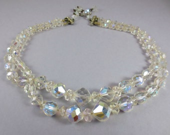 1940s AB Crystal Necklace,Vintage Crystal Necklace,Crystal Wedding Necklace,Multi Strand Crystal Necklace,Graduated Double Strand Necklace