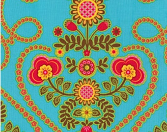 Quilting Cotton - Michael Miller - Ooh La La - Turquoise - Pillow & Maxfield - Coeur de Fleurs  - HALF YARD