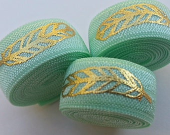 5/8 MINT Gold Foil Feather Fold Over Elastic