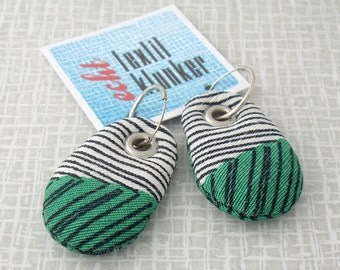 striped green and white hand-sewn fabric earrings