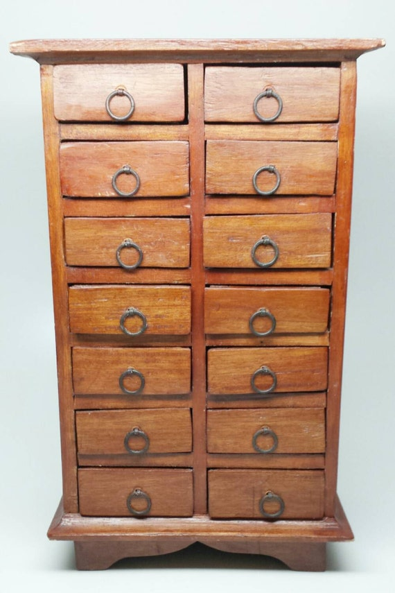 Vintage solid wood apothecary primitive jewelry box for Solid wood jewelry chest
