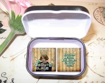 Set of 2 Glass Tile Magnets,  Fridge Magnets in gift tin, Funny Fairy Magnets, Best friends gift, Hostess Gift, SET OF 2.