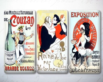 Glass Tile Magnets,  Fridge Magnets, Vintage Poster Magnets,  Best friends gift, Hostess Gift,