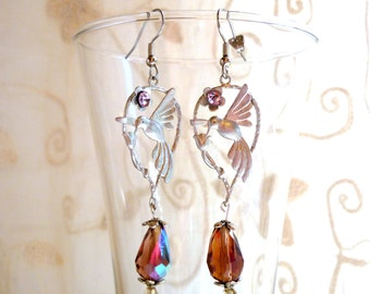 Birds earrings with crystal and rhinestones drops, vintage inspired for romantic and elegant evening like 1920s Downton Abbey