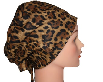 Scrub Hat Surgical Scrub Cap Chemo Chef Vet Nurse Dr Hat European Pixie Style Animal Print Brown Gold Black 2nd Item Ships FREE