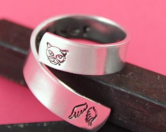 Cat Ring - Pet Memorial Ring - Personalized Cat Ring - Custom Ring - Silver Ring - Wrap Ring - Twist Ring - Pet Loss Gift - Pet Name Ring