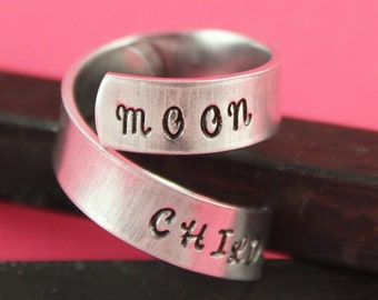 SALE - Moon Child Twist Ring - Wrap Adjustable Ring - Hand Stamped Ring - Mother's Day Gift