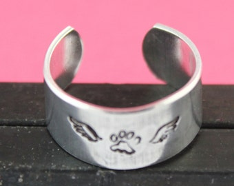 SALE - Dog Angel Ring - Pet Memorial Adjustable Ring - Hand Stamped Ring