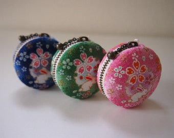 5cm, Macaron Jewelry Pouch/ Macaroon/ Coin Purse - Rabbit & Flower, Blue/Green/Pink -  Handmade in Japan by Chikaberry