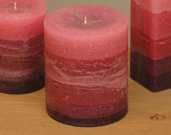 """4 x 5"""" - Burgundy to Purple Fade Pillar Candle - Burgundy Candle, Maroon Candle, Cranberry Candle"""