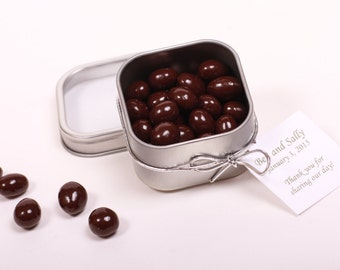 Chocolate Espresso Bean Wedding Favors / Corporate Promotional Gifts/ Shower Favors. 2 oz Clear Lid Tin. Chocolate Favors.