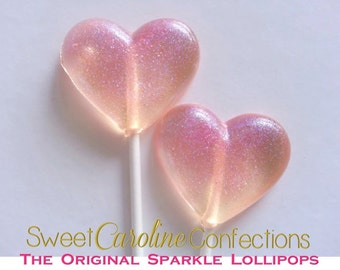 Pink Heart Lollipops, Heart Lollipops, Pink Favors, Pink Wedding Favor, Heart Candy, Lollipops, Sweet Caroline Confections- -Set of Six
