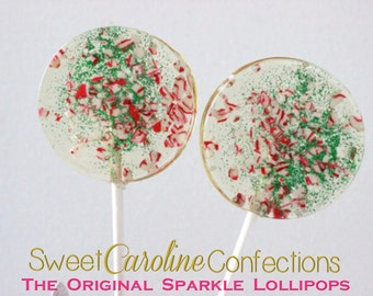 Candy Cane Lollipops, Red Favors, Holiday, Wedding Favors, Lollipops, Candy Lollipops, Holiday Favors-Set of Six