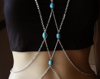 Bohemian Silver Chain Body Harness, Body Chains, Body Jewelry, Chain Harness, Connected Necklace, Celebrity. SOLD OUT