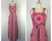 70s Indian Maxi Dress / 1970s Vintage Cotton Boho Summer Dress / Small / Size 2