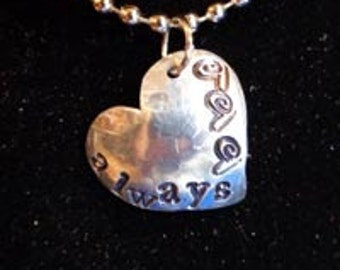 "Pendant - Stamped Metal Heart Pendant - ""Always"" - FREE SHIPPING"