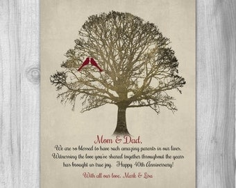 40th Anniversary Parents Gift Mom Dad 40 Years Family Tree PERSONALIZED PRINT Love Birds Quote Art Print Love Marriage 40th 50
