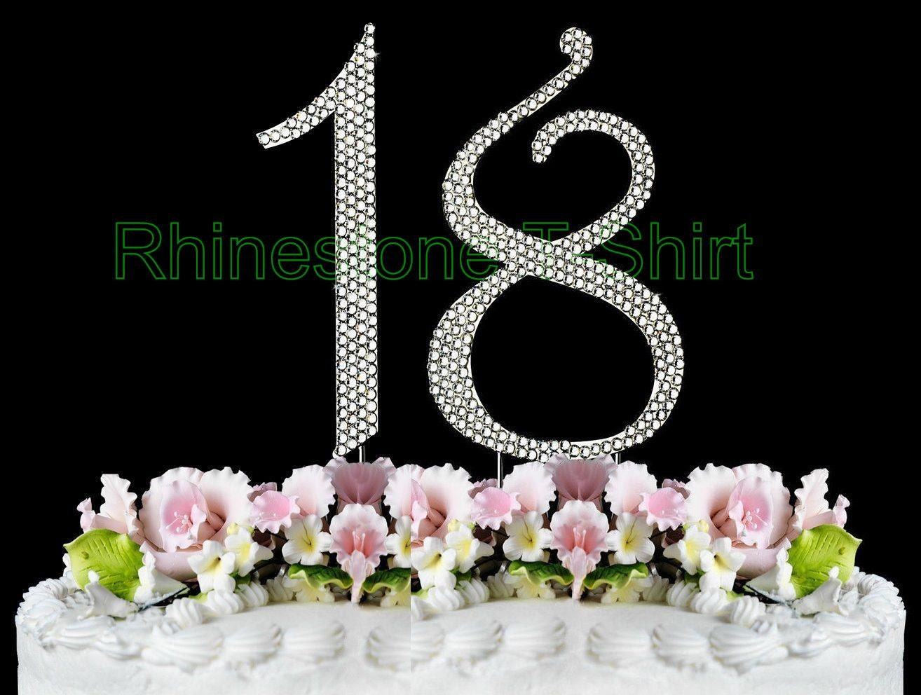 New Large Rhinestone NUMBER 18 Cake Topper 18th Birthday